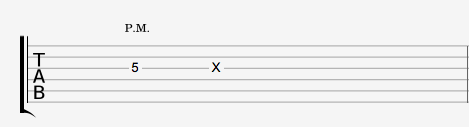 Notation palm mute et ghost note tablature guitare
